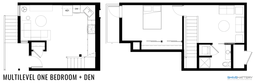Multilevel One Bedroom + Den