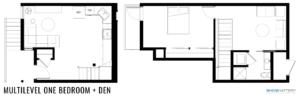 Multilevel One Bedroom + Den